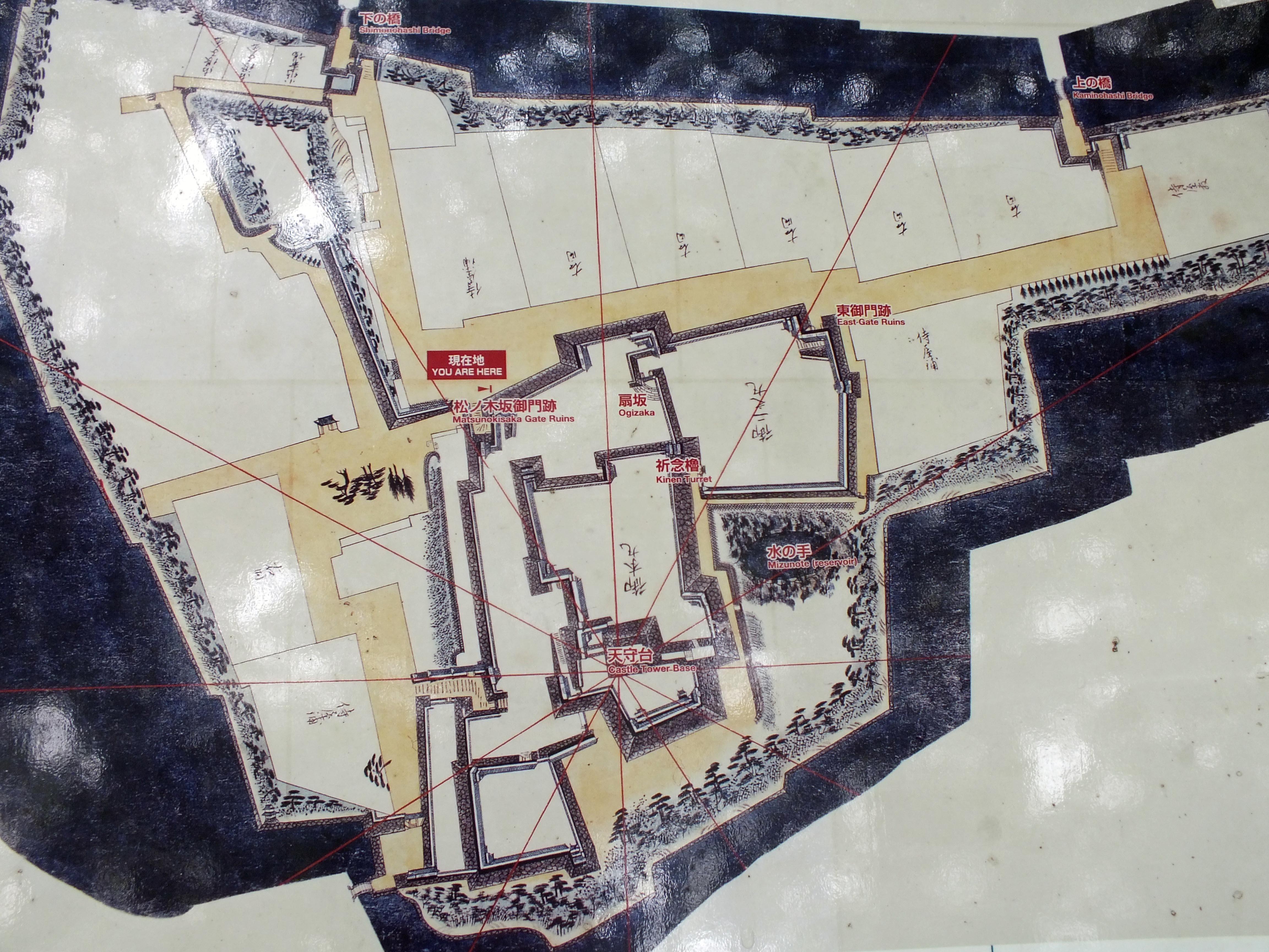 福岡城 絵図現地説明板より
